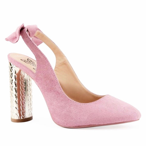 Blush Pink Mirrored Slingback Pump with Bow Back