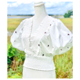 Grey Ivory & Black Embroidered Puff Sleeve Top with Smocked Waist