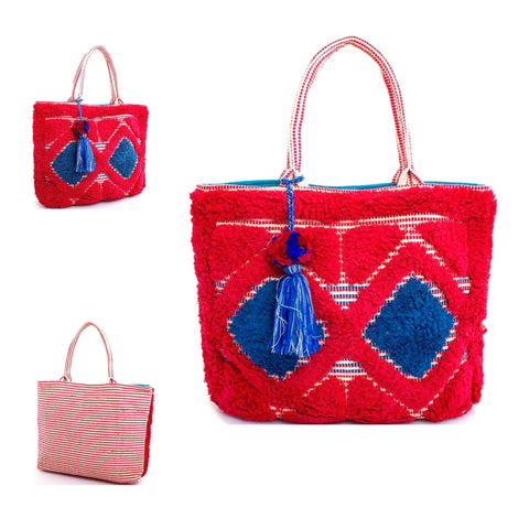 Red White & Blue Terry Embroidered Tassel Tote