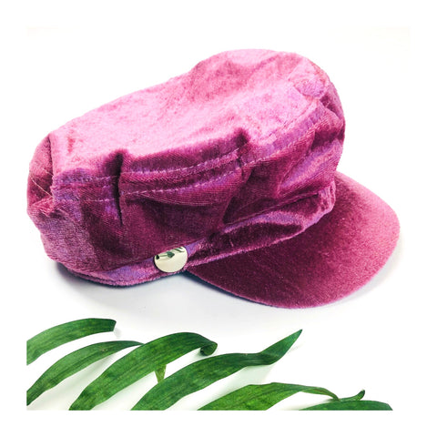 Rose Pink Velvet Cabbie Hat