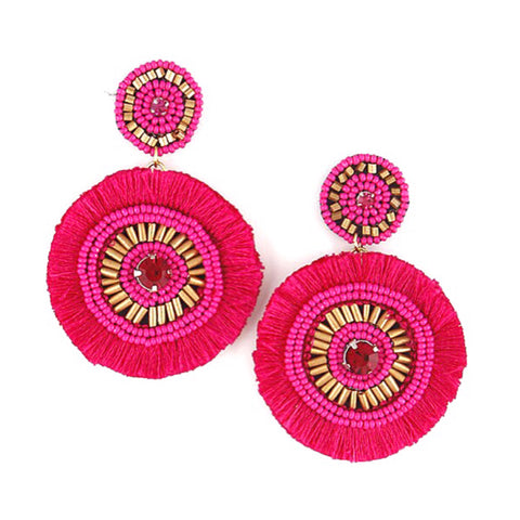 Fuchsia & Gold Beaded Tassel Earrings