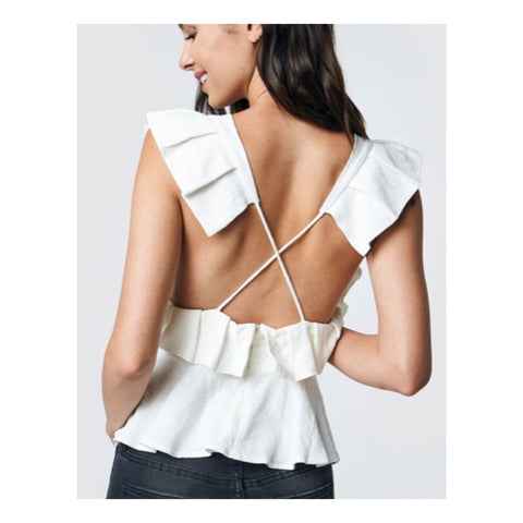 White Pleated Flutter Sleeve Peplum Top with Crisscross Open Back
