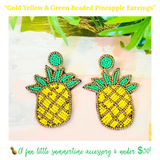 Gold Yellow & Green Beaded Pineapple Earrings