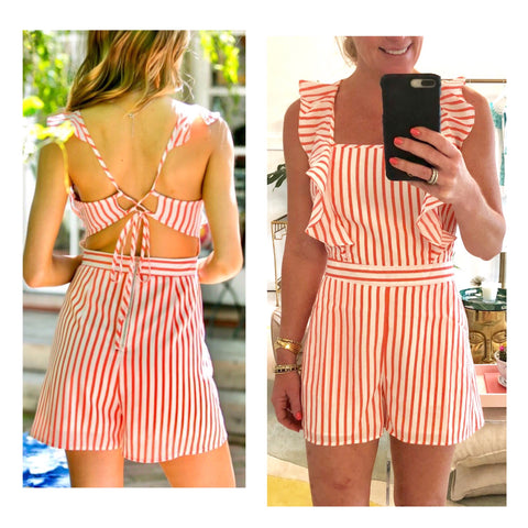 Coral & White Stripe Ruffle Open Back Romper with Banded Waist & Pockets
