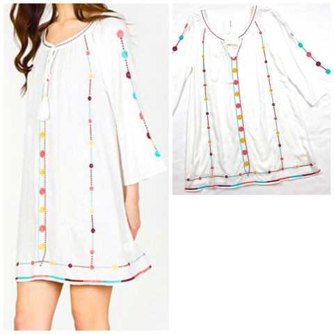 White Embroidered Tunic Dress with Tassel Tie