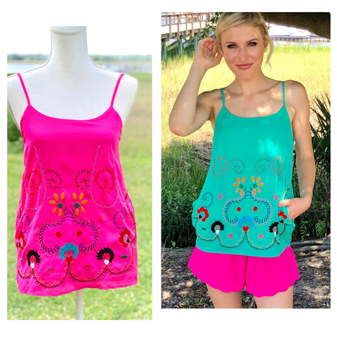 Jade Green or HOT Pink Embroidered Mexicali Tops