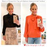 BLACK or MANGO Knit Henley Top with Balloon Sleeves & Self Tie Bow