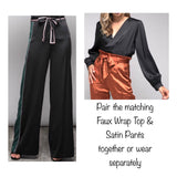 Black Satin Wide Leg Tie Waist Pants with Hunter Green & Baby Pink Leg Contrast