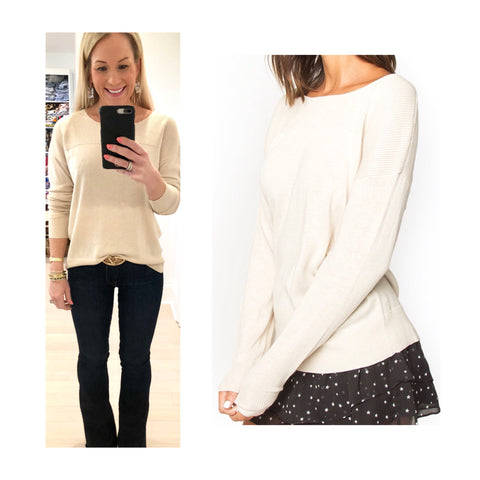 Beige Ribbed Knit Round Neck Sweater with Banded Sleeves & Hem