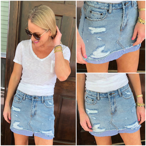 Destroyed Denim High Low Skirt with Blue White Stripe Shirttail Hem Contrast👌