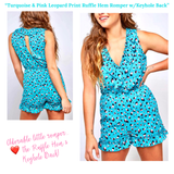 Turquoise & Pink Leopard Print Ruffle Hem Romper with Keyhole Back