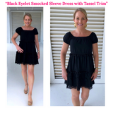 Black Eyelet Smocked Sleeve Dress with Tassel Trim