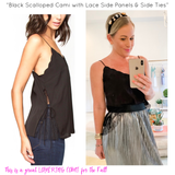 Black Scalloped Cami with Lace Side Panels & Side Ties
