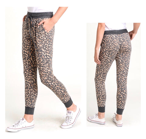 Leopard Print French Terry Jogger Pants