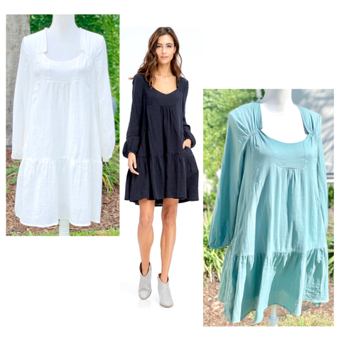 Teal Black or White Long Sleeve Tiered Hem Babydoll Dress with Asymmetrical Neckline & POCKETS