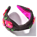 Black Hot Pink & Seafoam Green Beaded Headband with Pink Satin Contrast