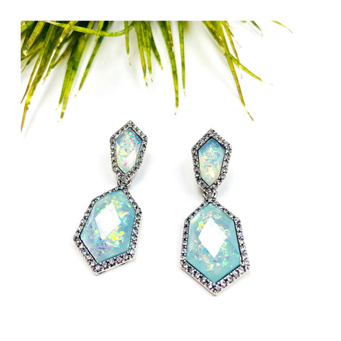 Blue Iridescent Pave Crystal Rhinestone Drop Earrings