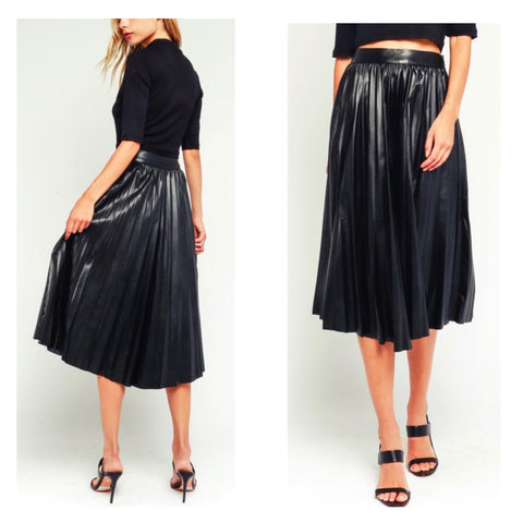 Black High Waisted PU Leather Pleated Midi Skirt