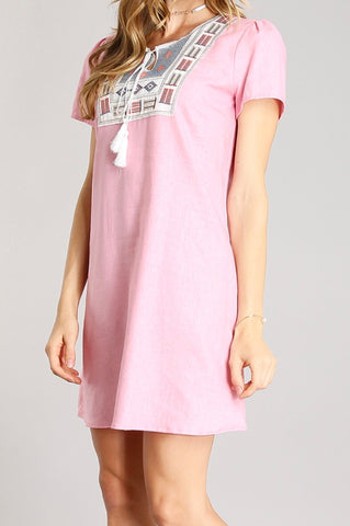 Light Pink Linen Embroidered Shift Dress with Tassel Tie