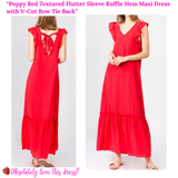 Poppy Red Textured Flutter Sleeve Ruffle Hem Maxi Dress with V-Cut Bow Tie Back