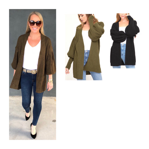 Black OR Olive Balloon Sleeve Open Front Ribbed Knit Cardigan