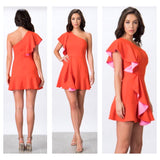 Deep Coral & Pink Contrast One Shoulder Cascading Ruffle Fit & Flare Dress