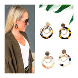 Tortoise or Multicolor Open Circle Earrings with Rhinestone Inset Circle
