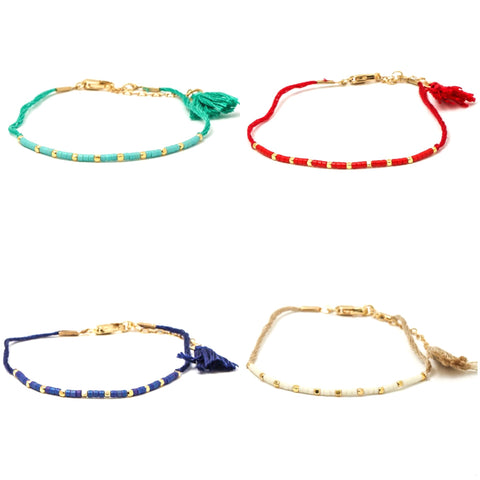 Multicolor Crystal & Gold Beaded String Tassel Bracelets