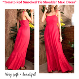 Tomato Red Smocked Tie Shoulder Tiered Maxi Dress