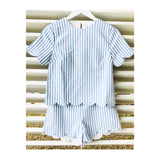 Blue Stripe Scalloped Shorts (Top Sold Separately)