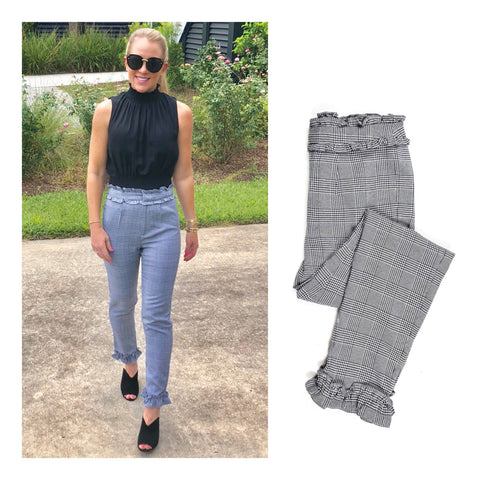 Houndstooth Cigarette Pants with Ruffle Trim