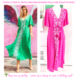 Fuchsia or Kelly Green St. Moritz Kaftan Dress with Silver Embroidery & Tassel Tie Waist