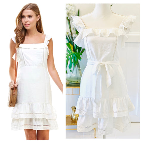 White Flutter Sleeve Midi Dress with Ladder Trimmed Double Ruffle Hem & Smocked Back