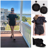 Black Off the Shoulder Ruffle Smock Romper with Keyhole Front & Waist Belt Tie
