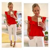 Bright Red Tiered Ruffle Peplum Top with Ruched Bust & Banded Waist