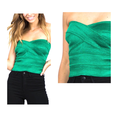 Metallic Emerald Green Bandeau Bandage Top