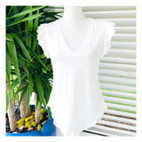 White V-Neck Flutter Sleeve Knit Round Hem Tee