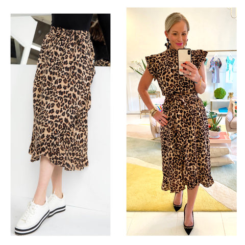 Leopard Print Biased Ruffle Hem Midi Skirt with Banded Waist & Self Tie Bow