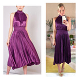 Berry Pleated Midi Dress with Smocked Waist