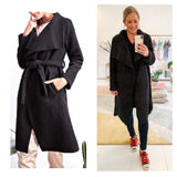 Black Open Front Belted Textured Wool Coat with Contrasting Oversized Smooth Lapel