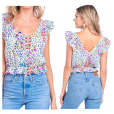 Turquoise Pink Coral & Purple Floral Print Ruffle Hem Flutter Sleeve Top