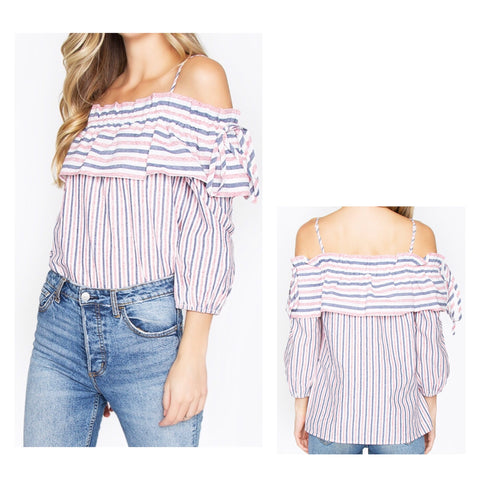 Coral Blue Stripe Cold Shoulder Ruffle 3/4 Sleeve Top