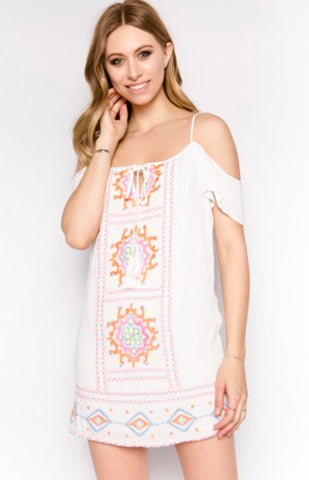 White Cold Shoulder Dress with Vibrant Embroidery
