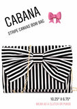 Black White Cabana Stripe Canvas Bow Clutch OR Purse with Gold Chain & Hardware