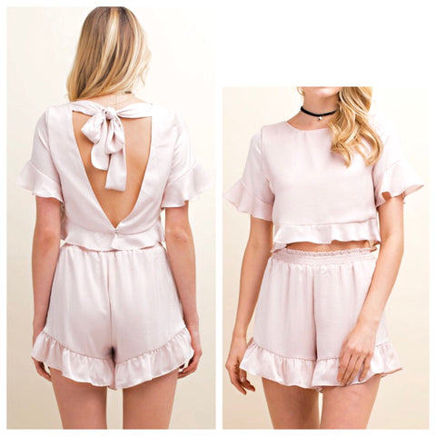 Blush Ruffle Hem Top with Open Bow Back