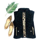 Black Puffer Vest with Faux Leopard Fur Lining, Detachable Hood & Contrast Piping
