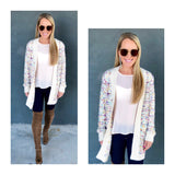 Cream Confetti Tweed Open Front Cardigan with METALLIC Gold Flecks & POCKETS