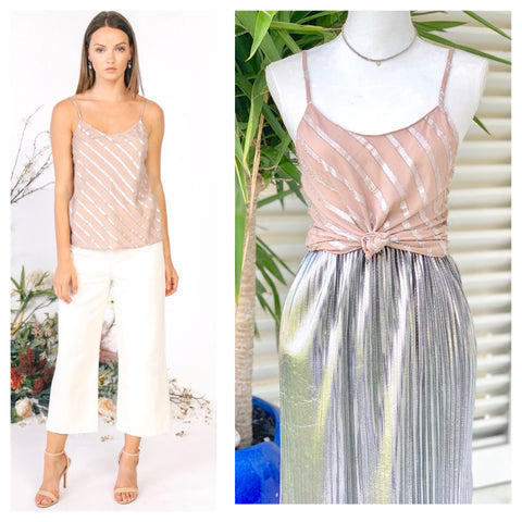 Dusty Rose & Metallic Silver Cami