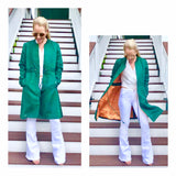 Emerald Green A-Line Bomber Jacket with Orange Contrast Lining