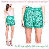 Kelly Green Crochet Lace Contrast Scalloped Hem Shorts